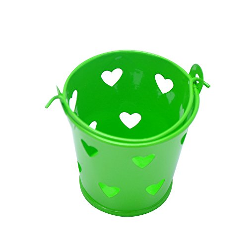 Heart Pail Heart Pail - Yalulu 10Pcs Mini Metal Hollow Heart Bucket Tin Candy Box Buckets Gift Pails for Bridal Wedding Party Baby Showers Favors (Green)