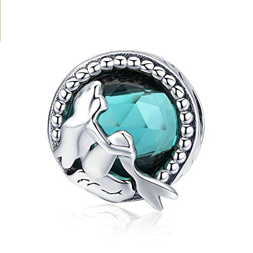 Blue Mermaid Tail & Shell Pearl Charm 925 Sterling Silver Ocean Charm Beads for Bracelet & Necklace (Mermaid & tears)