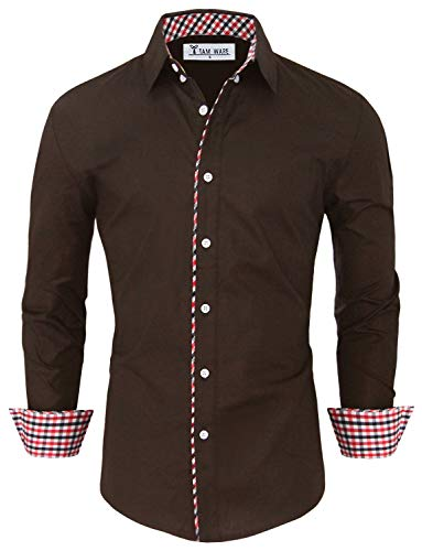 TAM WARE Mens Fashion Casual Inner Plaid Long Sleeve Button Down Shirt TWNMS310S-A-BROWN-US XXL