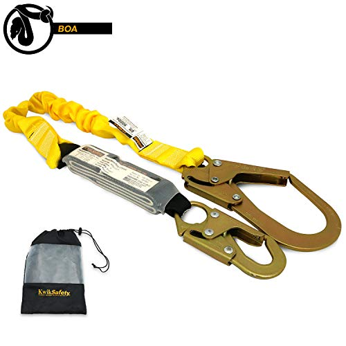 KwikSafety (Charlotte, NC) Boa Single Leg 6 foot Tubular Stretch Safety Lanyard | OSHA ANSI Fall Protection External Shock Absorber Construction Arborist Roofing | Snap and Rebar Hook Connectors