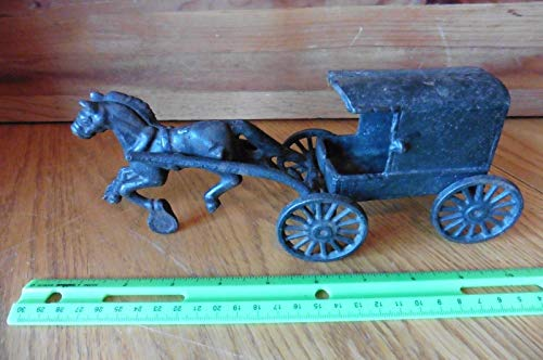 Amish Horse Buggy - Cast Iron Amish Family Vintage Horse drawn Buggy carriage with children in back