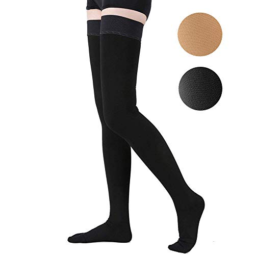 Thigh High Compression Stockings, Opaque, Firm Support 20-30 mmHg Gradient Compression with Silicone Band, TOFLY Closed Toe Compression Stockings, Treatment Swelling, Varicose Veins, Edema, Black XXL