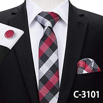 LUHELDM 6 cm Slim Tie Seda Sólida Tejida Rojo Azul Color Liso ...