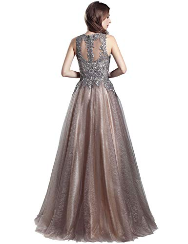 3fa35aa36cd Home Brands Belle House Belle House Long Prom Dresses 2018 Women Sheer Neck  Tulle A Line Evening Dress Ball Gown Beaded.   