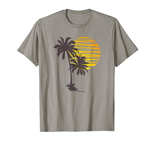 Sunset Beach Palm Tree TShirt Funny Summer Vacation Holiday T-Shirt (Best Beaches With Palm Trees)