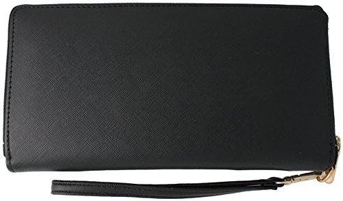 Large Zip Around Clutch Wallet With Wristlet Strap (Black)