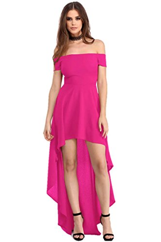 Fashion Women's Sexy Off Shoulder High Low Asymmetric Midi Cocktail Party Dress (X-Large, ()