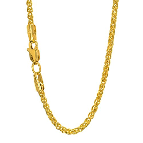 - JewelStop 14k Solid Yellow Gold 1.5 mm round Spiga Wheat chain Necklace, Lobster Claw Clasp - 16