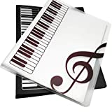 WOGOD Music Sheet File Paper Documents Storage Folder Holder Plastic.A4 Size,40 Pockets (1Black+1Transparent)