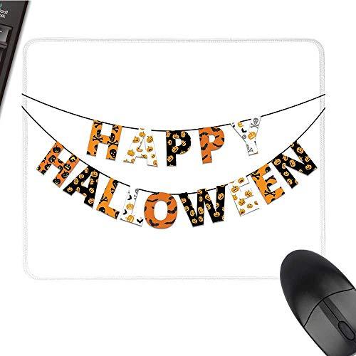 HalloweenOffice Mouse PadHappy Halloween Banner Greetings Pumpkins Skull Cross Bones Bats PennantWaterproof Mice Pad 9.8