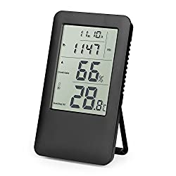 Woochy Digital Hygrometer Thermometer Humidity Gauge Thermo-Hygrometer Indoor Air Monitoring with LCD Screen Alarm Clock for Home, Office and School (White) (Black)