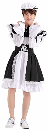Cohaco Men's Lovely Maid Costume Black White Dress (Medium) - Cafe Maid Costume