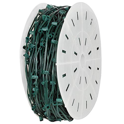 (Holiday Lighting Outlet C9 Christmas Stringer Bulk, Candelabra Base (E17), SPT-1 7 Amp wiring, 1000' Reel (Green, 12