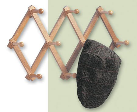 "Expanding PEG Rack 10 Hooks Hardwood Multi-purpose Vertical or Horizontal Wall Mount (up to 30"")"