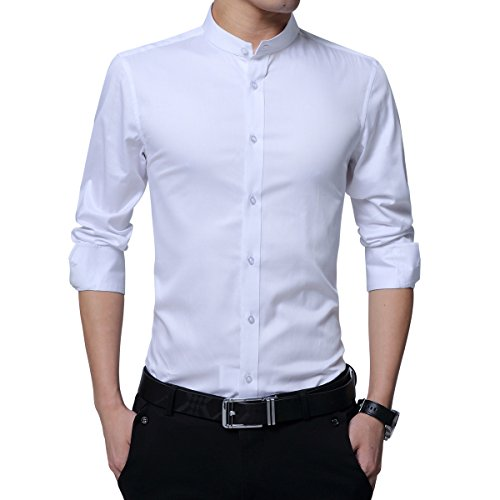 HiLY Men's Dress Shirts Banded Collar Slim Fit Tuxedo Shirt Long Sleeve Solid Cotton Button Down Shirts White Black Navy