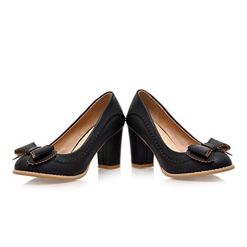 Lucksender Womens Closed Round Toe Kitten Heel Chunky Heels PU Soft Material Solid Pumps With Bowknot Black d2oP2u