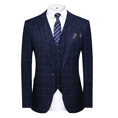 MAGE MALE Men's Plaid 3 Piece Suit Elegant Two Buckle Slim Single Breasted Blazer Vest Pants Set (M, Dark Blue) ()