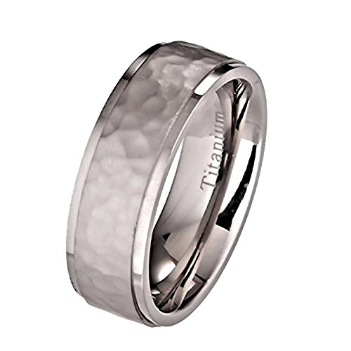 MJ Metals Jewlery Custom Engraved 7mm Hammered Titanium Wedding Ring Recessed Edges Comfort Fit Band Size - Band Comfort Wedding Hammered Fit
