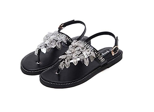 playa 34 dedo Sandalias remaches Tessel Zapatos Black de cinturón en del Slingback pie de del casuales Eu mujeres Zapatos del planas la Hebilla vacaciones 40 Tamaño Comforty las 4RqnRA