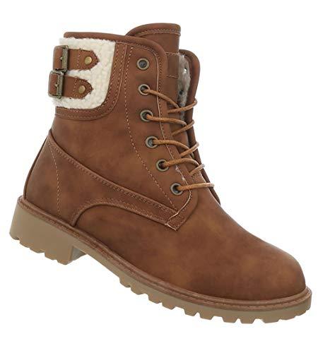 Combat Winter Camel Wanderschuhe Worker Stiefel gefüttert Schnürstiefel Damen 41 Stiefelette 36 Optik Leder Boots 5AqIxSw