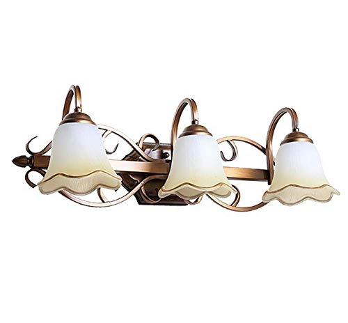 ZUEN LED Vanity Wall Sconces Lighting Over Mirror, Full Copper Retro Glass Wall Light, Three-Light Indoor Vanity Strip Wall Light,Bathroom Light Metal Shades