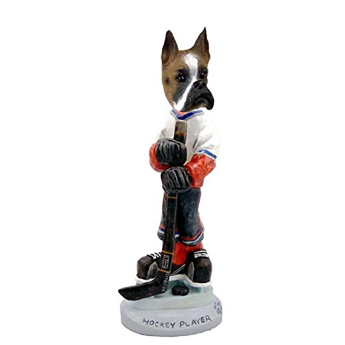 Brown and White Boxer Hockey Player Doogie Collectible Figurine ()