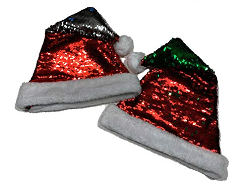 DSV Super Center - Santa Claus Sequin Santa Hat 2 Pack - Holiday Season Christmas Hat - Double Sided Reversible Sparkly Sequin - Red/Green And Red/Silver - Perfect Shopping And Party Accessory ()