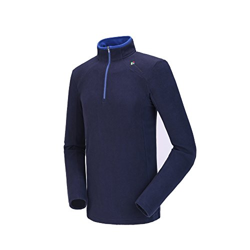 Camel Men's Fleece Sweatshirt Pullover Jacket Lightweight Sweater Shirt Outdoor Long Sleeve Jacket With Zip Dark Blue XXL Long Sleeve Polar Fleece Top