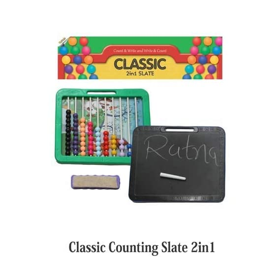 Ratna's Educational Classic Counting Slate 2 in 1. Enhances Counting and Writing Skills (Multicolour)