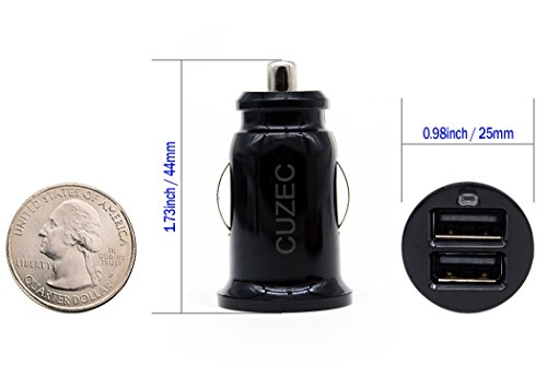 Car Charger CUZEC 2 PACK Portable Dual Port USB Car Charger Cigarette Lighter Adapter For IPhone IPad Samsung Other