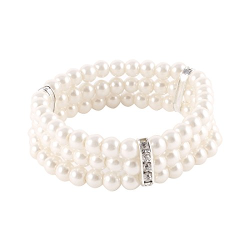 uxcell Ladies Jewelry 3 Rows Faux Pearls - 3 Row Stretch Pearl Bracelet Shopping Results
