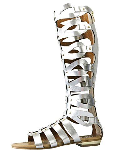 CAMSSOO Women's Fashion Knee High Gladiator Flat Outdoor Sandals Back Zip Shoes Silver PU Size US7.5 (Pu Womens Fashion Sandals)