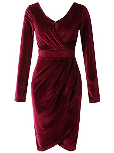 Jayjay Femmes Faux Sexy Écharpe Longue En Velours Manches Mini Robe Jwds467q9_royalred