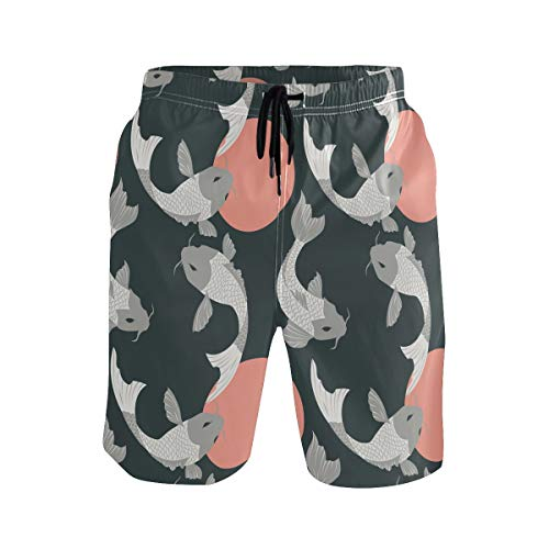 JERECY Men's Swim Trunks Retro Japanese Koi Fish Pattern Quick Dry Board Shorts with Drawstring and Pockets