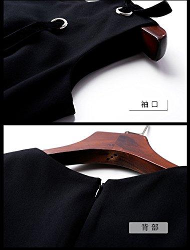Women`s Cotylédons Robe De Bal Sans Manches Col Rond Slim Robes Noires