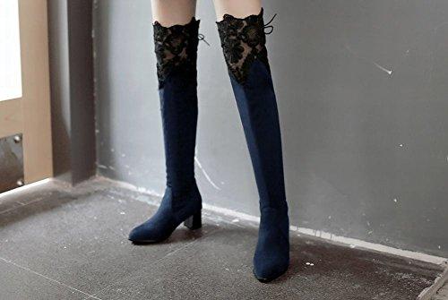 Latasa Mujer's Lace Pointed Toe Tacones Gruesos Sobre La Rodilla Botas De Vestir Azul Oscuro