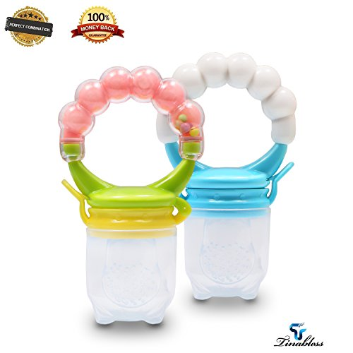 Baby Fresh Food Feeder Fruit Pacifier- Tinabless 2Pcs Silicone Infant Baby Teething|Teethers Toys with Rattle, Toddlers&Kids&Infant Fruit Teether (Homemade Bird Costumes For Adults)