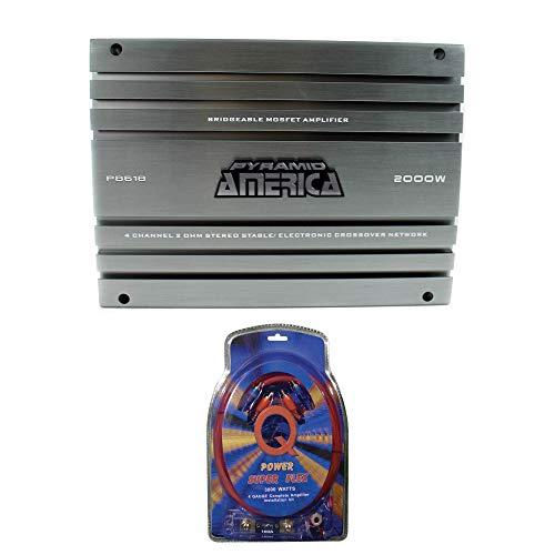 Pyramid 2000 Watt 4 Channel MOSFET Amplifier + 4 Gauge Amplifier Wiring Kit