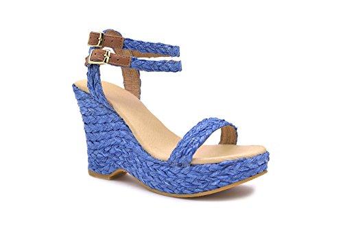Conbuenpie by Cbp - Sandalia piel y yute mujer color Azul