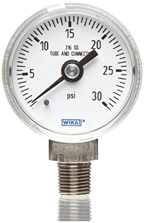 "WIKA 9833255 Industrial Pressure Gauge, Refillable, Stainless Steel 316L Wetted Parts, 2-1/2"" Dial, 0-60 psi Range, +/- 2/1/2% Accuracy, 1/4"" Male NPT Connection, Center Back Mount"
