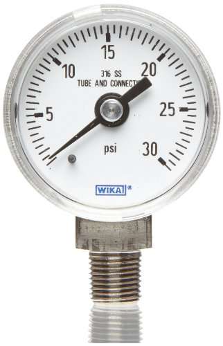 "WIKA 9767088 Industrial Pressure Gauge, Liquid/Refillable, Copper Alloy Wetted Parts, 2-1/2"" Dial, 0-200 psi Range, +/- 2/1/2% Accuracy, 1/4"" Male NPT Connection, Bottom Mount"