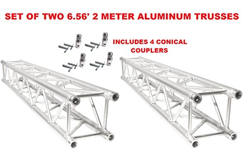 SET OF TWO (2) PAIR 6.56FT (2 METERS) STRAIGHT SQUARE ALUMINUM TRUSS SEGMENTS INCLUDES 4 COUPLERS