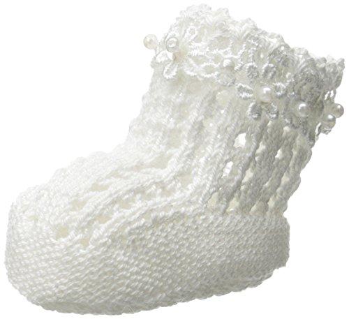 Jefferies Socks Baby-Girls Daisy Pearl Bootie, White, (Pearl Daisy)