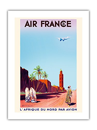 Marrakech, Morocco - North Africa by Air (L'Afrique Du Nord Par Avion) - France - Vintage Airline Travel Poster by Maurice Guiraud-Riviére c.1934 - Premium 290gsm Giclée Art Print 18in x 24in