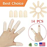 Gel Finger Cots, Finger Protector Support(14 PCS) New Material Finger Sleeves Great for Trigger Finger, Hand Eczema, Finger Cracking, Finger Arthritis and More. (Small Size) (Nude, Small)