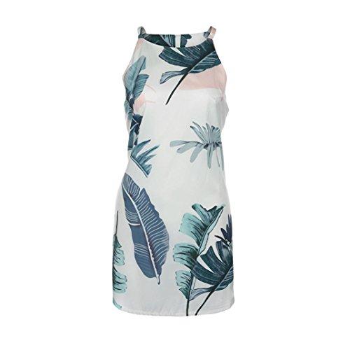 vovotrade blanco El verano ocasional del halter deja la impresión sin mangas de la playa del sol mini vestidos