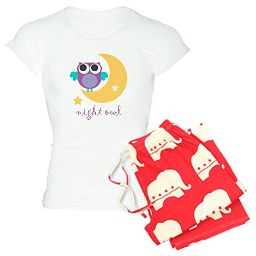 CafePress Night owl with Moon and Star.png Women's Light Paj Womens Novelty Cotton Pajama Set, Comfortable PJ Sleepwear