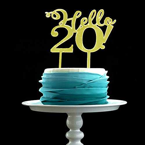 GrantParty Mirror Gold Hello 20 Cake Topper - Wedding | Anniversary Party Decoration Photo Props by GrantParty