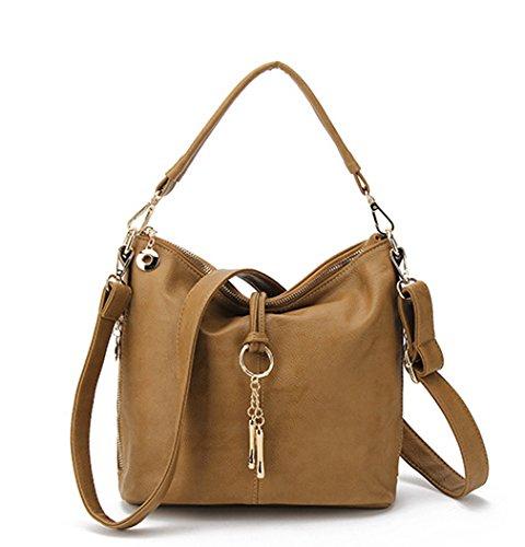 Zipper Shoulder Hobo Hoxis Bucket Handbag Brown Slouch Chic Leather Tassel Faux Womens 6pYgq