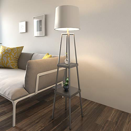 Modern Floor Lamp - 58-inch Distressed Iron Etagere Lamp - Contemporary 2 Tier Stand (Lamp Tier 2)